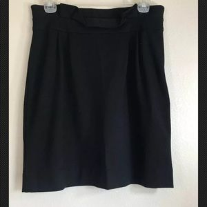 Kate Spade Black Skirt Ruffled Waist Knit Gold Zip